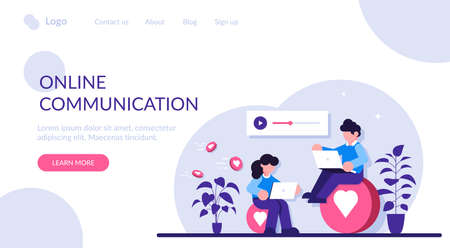 Online communication concept. A man and a woman communicate through social messengers, evaluate each other is content and photos. Modern flat illustration. 写真素材