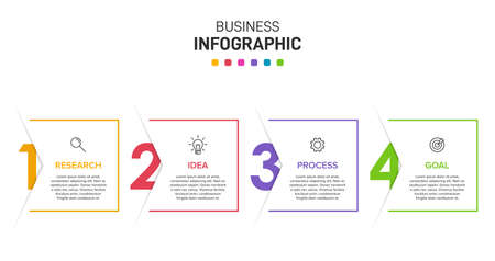 Infographic design with icons and 4 options or steps. Thin line. Infographics business concept. Can be used for info graphics, flow charts, presentations, web sites, banners, printed materials. Foto de archivo
