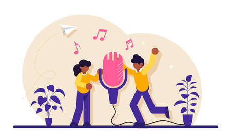 Sound record concept. Group of people standing near microphone and sing a song. Modern flat illustration.