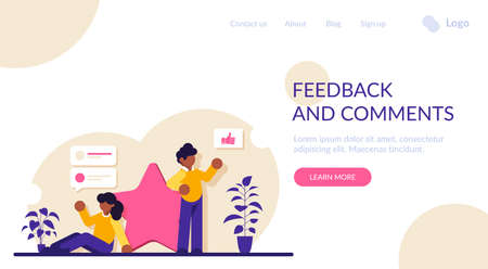 People leave feedback and comments with a score of five being the highest. Evaluation of a product or service. A person shares his opinion. Modern flat illustration.