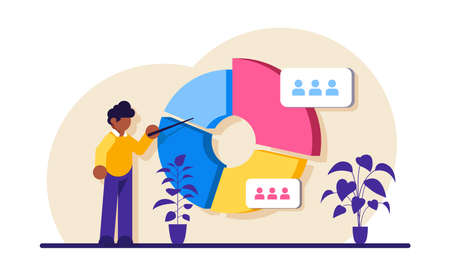 Audience segmentation concept. Man near a large circular chart with images of people. Colorful infographic. Modern flat illustration.