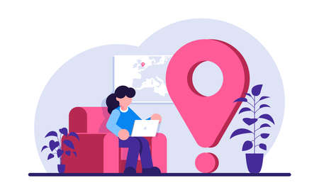 Remote worker concept. Woman with a laptop is sitting in a home chair. Freelancer near a big pin. Modern flat illustration. Vettoriali