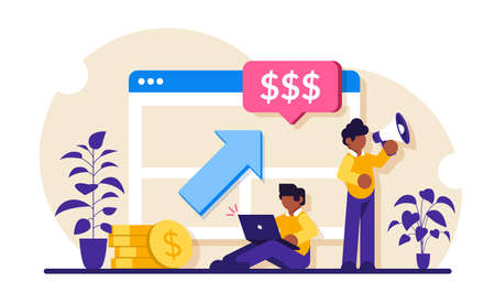 PPC campaign concept. Pay Per Click illustration. Man with a laptop and a loudspeaker advertise a product or customer service. Modern flat illustration.