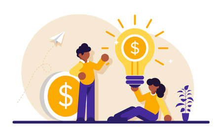 Business concept. Young businessman and businesswoman. Team success. An idea that generates revenue. A coin with a dollar. Modern flat illustration.