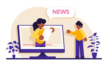 Video news concept. The TV presenter talks about the current news. Man watches a TV show on a monitor screen. Modern flat illustrator