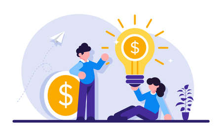 Business concept. Young businessman and businesswoman. Team success. An idea that generates revenue. A coin with a dollar. Modern flat illustration