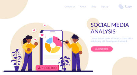 Social media analysis concept. Marketer analyzes his clients advertising company. Tracking new data. Modern flat illustration.