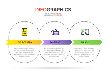 Concept of shopping process with 3 successive steps. Three colorful graphic elements. Timeline design for brochure, presentation, web site. Infographic design layout.