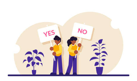 Pros and cons. Man and woman at gathering to decide advantages and disadvantages, ideas for and against. Holding yes, no signs. Modern flat illustration.