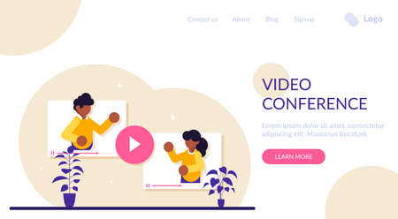 Online Video Conference concept. Man and a woman communicate via video call. How to solve work issues remotely while working, Modern flat illustration. Stok Fotoğraf
