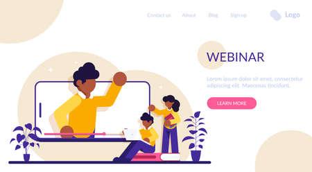 Educational web seminar, internet classes, professional personal teacher service. Webinar, digital classroom, online teaching metaphors. Modern flat illustration.