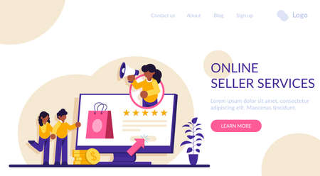 Online seller services. Online shopping concept. Marketing and Digital marketing. Flat People Characters Shop. Modern flat illustration. Illusztráció