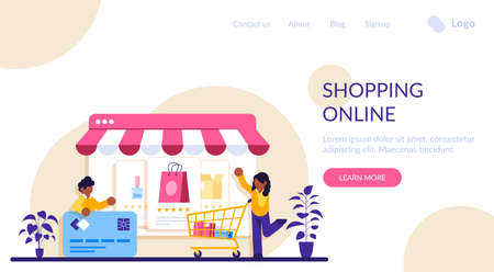Online shopping. E-commerce concept. Marketing and Digital marketing. Flat People Characters Shop. Modern flat illustration. Stock fotó - 155446499