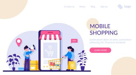 Mobile online shopping. Marketing and Digital marketing. Flat People Characters Shop. Modern flat illustration. Illusztráció