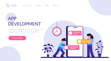 App Development for website and mobile website. Landing page template. Easy to edit and customize. Moden flat illustration. Vettoriali