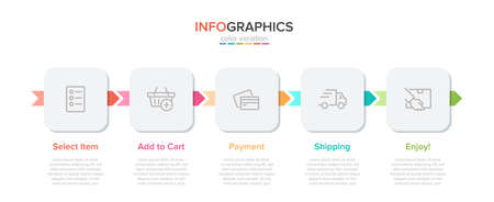 Concept of shopping process with 5 successive steps. Five colorful graphic elements. Timeline design for brochure, presentation, web site. Infographic design layout.