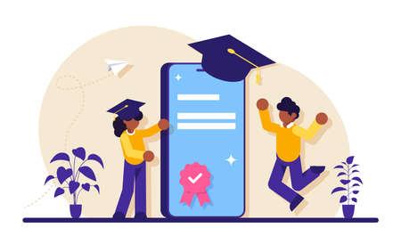 Online education with mobile phone. People and smartphone in square academic cap. Mobile version of the diploma. Modern flat illustration. Vettoriali