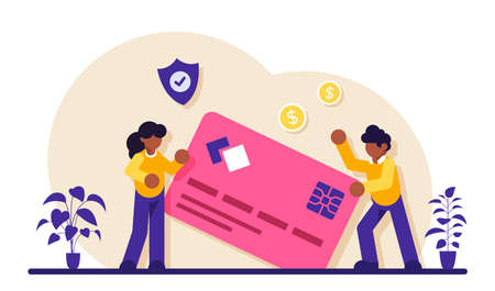 Credit card security. Protecting financial savings. Personal bank account, savings bank deposit. Monthly pay, salary, budget. Modern flat illustration.