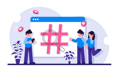 Social network monitoring, social media measurement, social listening concept. Sign hashtag on browser tab. People use the social network. Modern flat illustration.