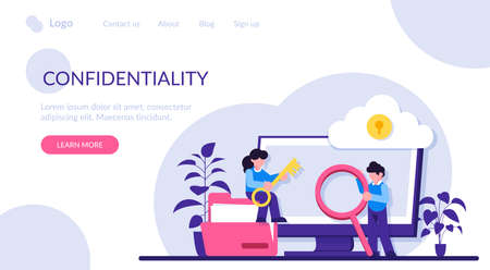 Confidentiality concept. Cyber or web security specialist. Digital data protection and safety. Modern technology and virtual crime. Protection information in internet. Modern flat illustration.