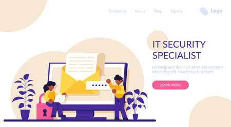 IT security specialist. Digital data protection and safety. Modern technology and virtual crime. Protection information in internet. Modern flat illustration.