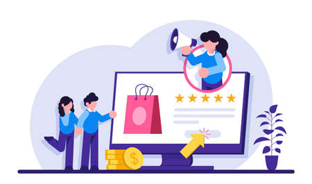 Online seller services. Online shopping concept. Marketing and Digital marketing. Flat People Characters Shop. Modern flat illustration. Vettoriali