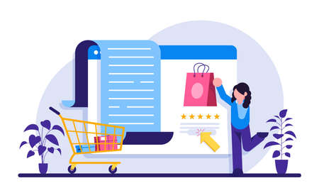 E-commerce services. Online shopping concept. Marketing and Digital marketing. Flat People Characters Shop. Modern flat illustration. Vettoriali