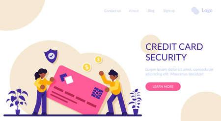 Credit card security. Protecting financial savings. Personal bank account, savings bank deposit. Monthly pay, salary, budget. Modern flat illustration.