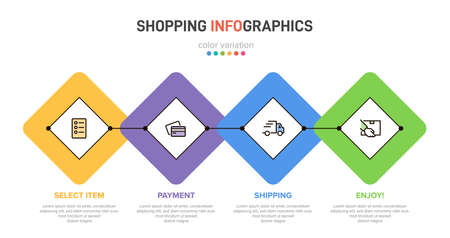 Concept of shopping process with 4 successive steps. Four colorful graphic elements. Timeline design for brochure, presentation, web site. Info graphic design layout.