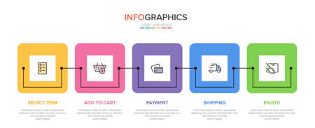 Concept of shopping process with 5 successive steps. Five colorful graphic elements. Timeline design for brochure, presentation, web site. Info graphic design layout.