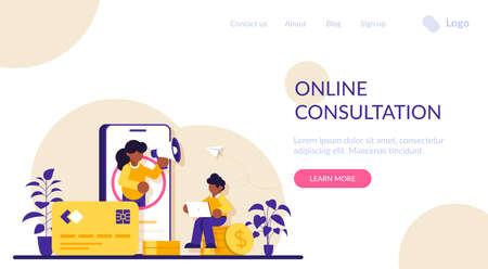 Finance or banking consultation via mobile phone. Bank services. Credit card and coin stack. Modern flat illustration. Ilustração