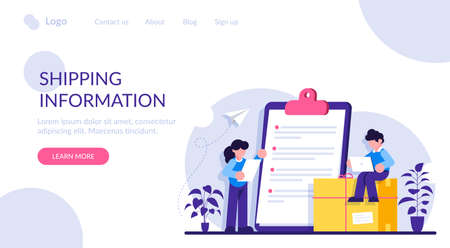 Shopping information website UIt. Online retailer website menu. International delivery details, customer information, user experience, shipping cost. Modern flat illustration.