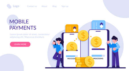 Mobile payment. Transfer money online. Phone transaction, business internet pay and digital banking. Card technology in smartphone, commerce finance concept. Modern flat illustration.