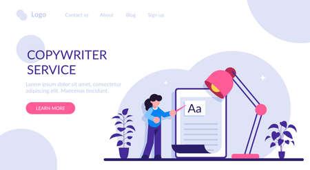 Copywriting job, home based copywriter, freelance copywriting concept. Copywriter writting creative advertising text. Modern flat illustration.