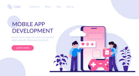 Virtual world development, mobile games development. Programmers are working on creating the game. Modern flat illustration.