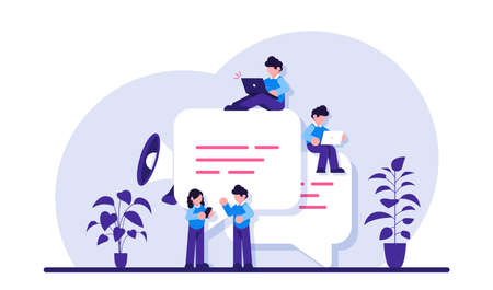 Chat easily. Speech bubbles for comment and reply. Small people chatting online. Guys and woman sitting on big symbols of chat. Modern flat illustration.