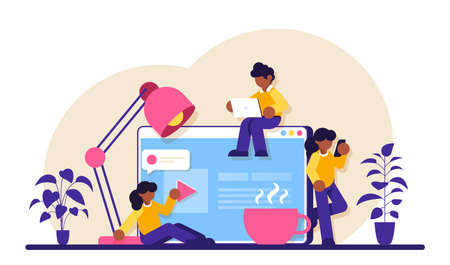 Communication via the Internet, social networking, chat, video, news, messages. Collaboration and communication, corporate and cooperative business concept. Modern flat illustration.