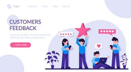 Customer reviews rating. People are holding stars, giving five star Feedback. Feedback consumer, customer review evaluation. Modern flat illustration.