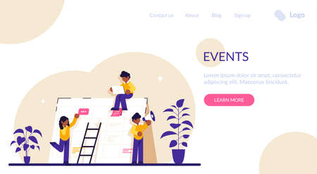 Events website concept. Corporate events. Event calendar. Notification, website menu bar, UI element, business meeting, commercial exhibition. Modern flat illustration. 스톡 콘텐츠