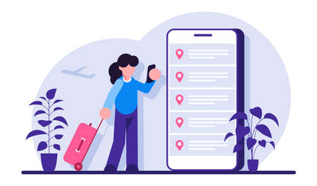 Online booking flight tickets. Woman buying ticket with smartphone. People waiting for a flight. Modern flat illustration. 矢量图像