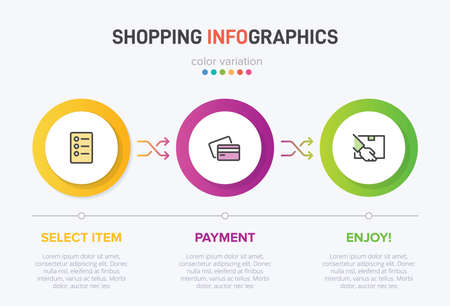 Concept of shopping process with 3 successive steps. Three colorful graphic elements. Timeline design for brochure, presentation, web site. Infographic design layout. Vector Illustratie