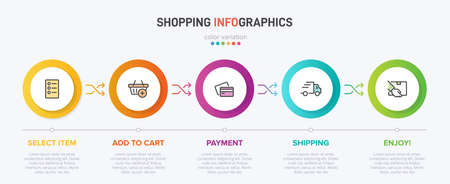Concept of shopping process with 5 successive steps. Five colorful graphic elements. Timeline design for brochure, presentation, web site. Infographic design layout. Vector Illustratie