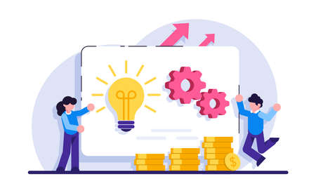 Online business concept. Business opportunity. Online business, key to success, decision making, problem solving, leadership, startup teamwork, collaboration. Modern flat illustration.