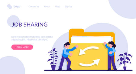 Date or job sharing concept. Delegating duties and responsibilities to colleagues. Job sharing, alternative work schedule, collaborative employment, division of a job. Modern flat illustration.