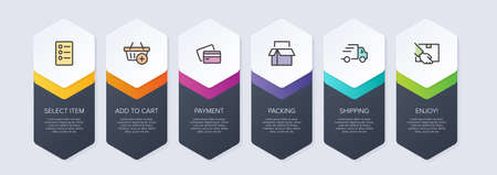 Concept of shopping process with 6 successive steps. Six colorful graphic elements. Timeline design for brochure, presentation, web site. Infographic design layout.