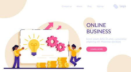 Online business concept. Business opportunity. Online business, key to success, decision making, problem solving, leadership, startup teamwork, collaboration. Modern flat illustration. Stockfoto