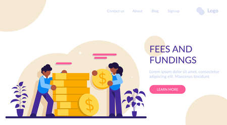 Fees and fundings concept. Business investment and money savings. Rich finance to earning currency, capital concept, money transfer, e-commerce, success economy accounting. A lot of money coins.