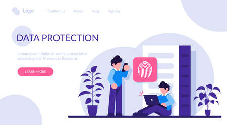Data protection concept. Database security. Big data storage, big data engineering, data protection, disk infrastructure, business information safety, access policy. Modern flat illustration.