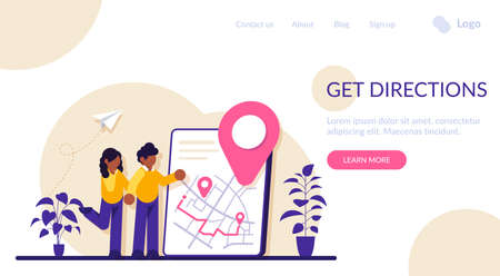 Get directions concept. Banner with the received direction. Concept of getting a route to reach your destination. Modern flat illustration. Stockfoto