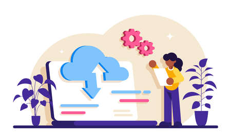 Data entry services concept. Big data, cloud technology. Large amount of information storage, sharing, analysis and processing. Tools, visualization, data entry services. Modern flat illustration.
